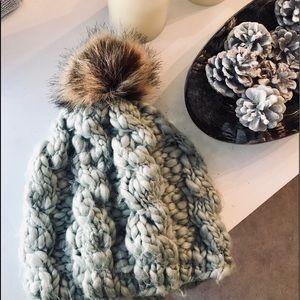Accessories - Chunky knit fur beanie
